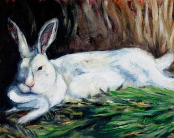 Big Momma white rabbit original oil painting on panel