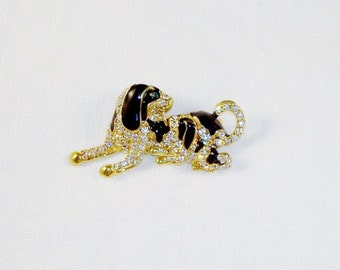 Gold Tone And Clear Crystals Dog Brooch