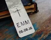 Baptism Gift, Monogram Bookmark, Baptism Date, Cross, Personalized, Child Gift, Gift for Boy or Girl, Confirmation Gift, Christening Gift