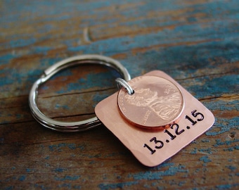 7th Anniversary Gift,Penny Keychain,Lucky Penny Keychain,Copper Anniversary,Wedding Date,Anniversary Gift for Man,Copper,Wife Anniversary