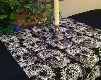 Skull Print - Small Pagan Wiccan Altar Table Cloth Center Piece
