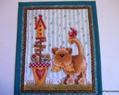 Quilted Cat Mug Rug, Cat Quilted Mini Placemat, Quiltsy Handmade Mug Rug Turquoise Green, Cat Lovers Gift,