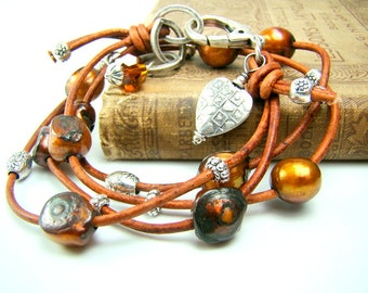 Pearl wrap bracelet, brown leather wrap bracelet, golden brown pearls, multi strand pearl bracelet