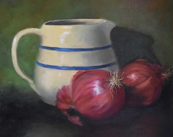 Still Life Painting,Crock Pitcher And Red Onions,16x16 Original Oil Canvas Painting by Cheri Wollenberg
