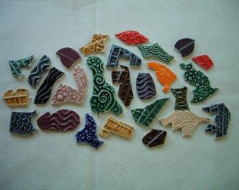 P25 - Jeweltones GRAFFITI TILES - Ceramic Mosaic Tiles