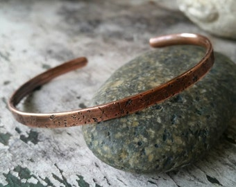 Rustic Copper Cuff, Thin Stacking Bracelet, Distressed Copper, Men's Cuff, Unisex Cuff, Textured Copper, Oxidized Copper, Masculine Jewelry