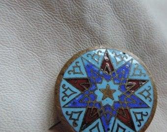 cloisonne pin antique brass