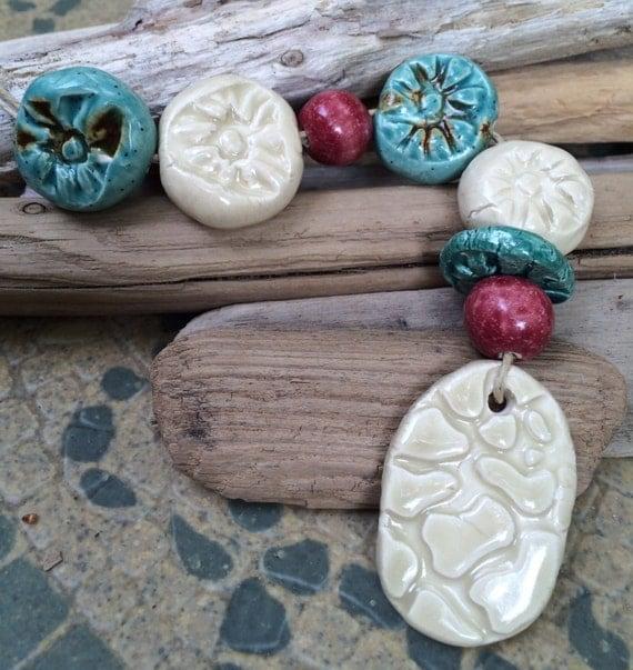 Christmas beads ceramic bead strand fall bead set Handmade terracotta Artist ceramic bead focal handmade ceramic pendant porcelain bead