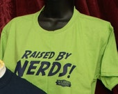 Raised By Nerds T-shirt - Kiwi Green Youths sizes - the Blibbering Humdingers Wizard Rock band  100% cotton preshrunk