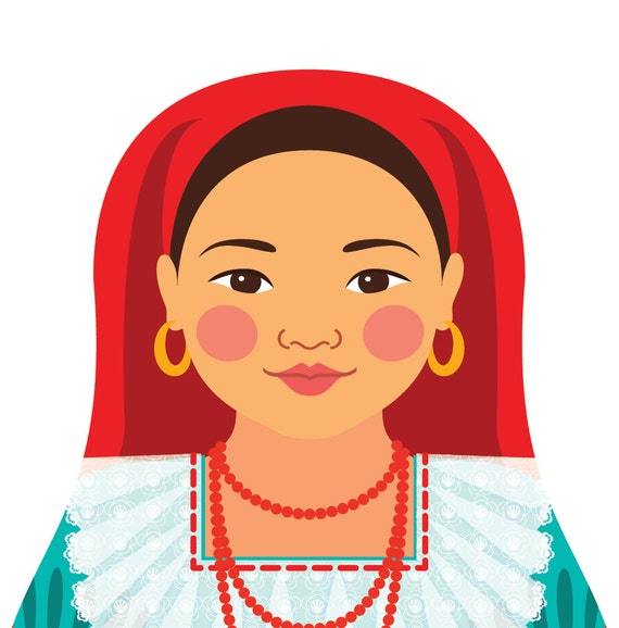 Salvadoran Wall Art Print with culturally traditional dress drawn in a Russian matryoshka nesting doll shape