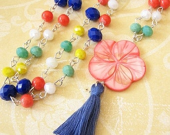 Statement Necklace Tassel Necklace Flower Necklace Beaded Necklace Long Necklace Boho Necklace Girlfriend Gift