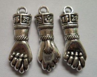 Silver hand charms pendant 22.5x7.5 mm. Pack Of 10 Charms.