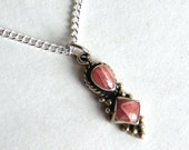 Vintage Native American / Navajo Sterling Silver and Pink Coral Pendant Necklace - Two Stone Necklace - Pink Striped Stones - Artisan-Made