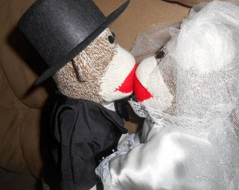 2 Sock Monkeys Couple Bride and Groom Wedding Bridal Just Married Special Wedding Bridal Couple