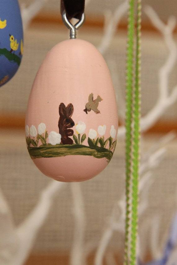 Lt Pink Hand Painted Wooden Easter Egg Ornament Ready to be Personalized