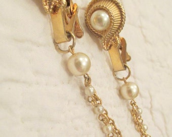 Vintage Sweater Clip faux pearls sweater guard