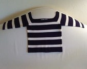 Vintage 70's French Sailor Square Neckline Knit Crop Top with Sleeves