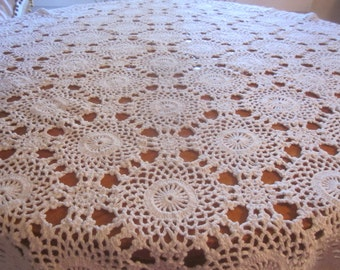 Vintage Crocheted Tablecloth 48 Inch Square