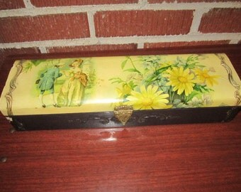 Antique Edwardian Celluloid Glove Box with Courting Couple Design