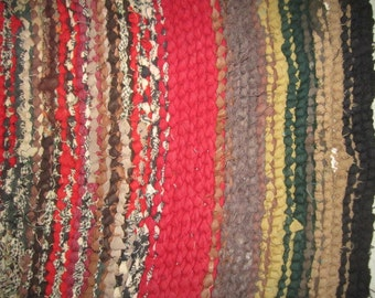 Vintage 1930s Primitive Large 50x38 Braided Rug from Iowa Farm Estate