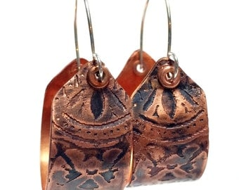 Etched Copper Hoop Earrings