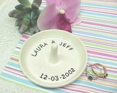 Personalized Ring Dish / Custom Name Ring Holder / Jewelry Tray / Made to Order / Engagement Gift / Bride Groom Name Date / Anitas Pottery