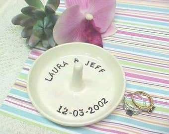 Personalized Ring Dish / Custom Name Jewelry Holder / Made to Order / Engagement Gift / Bride Groom Name Date / Anitas Pottery