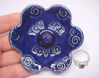 Blue Ring Dish - Ceramic Ring Holder - Ready to Ship -  Cobalt Blue - Stamped YOU ARE LOVED - Blossom Shape - potterybyAnita