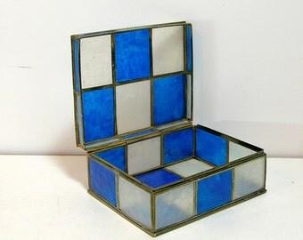 Blue And White Capiz Shell Trinket Box