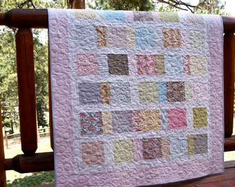 Quilt Bespoke Blooms Nursery Bedding Baby Toddler Children Scrappy Patchwork Spring Girl Crib Cot Brenda Riddle Pink Grey Green Blue