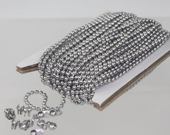 100 feet Stainless Steel BALL Chain - 2.4mm ball size with FREE 100 pcs of Connector (Crimp Type)