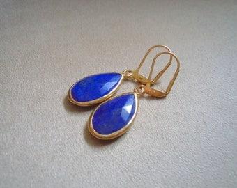 Nicola Earrings -- Lapis Lazuli Teardrop Earrings