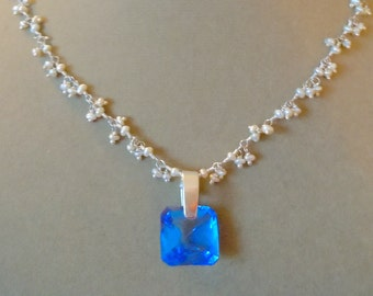 Ophelia -- Royal Blue Quartz and Pearl Cluster Chain Necklace