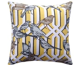 Birds Throw Pillow, Dwell Studio Aviary Trellis Citrine - Yellow Latice and Bird Print Decorative Throw Pillow