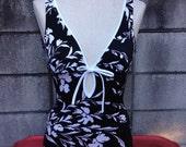 Black Floral Swimsuit Vintage 1980s White One Piece Bathing Suit