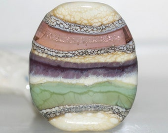 Peach Grape and Sage Organic Pebble Lampwork Glass Focal Bead