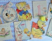 First Birthday Joy in Vintage Greeting Cards for One Year Olds Ducks Bear Bunnies in Birthday Lot No 111 Lot of