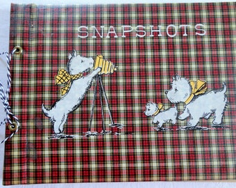 Scottie Dog Snapshot Album Vintage Plaid with Cover Showing Scottie Family and Camera 1940s 1950s