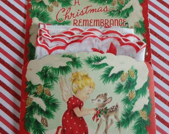 Vintage Christmas Hankie Pocket Greeting Card Including A Christmas Cotton Handkerchief with Poinsettias