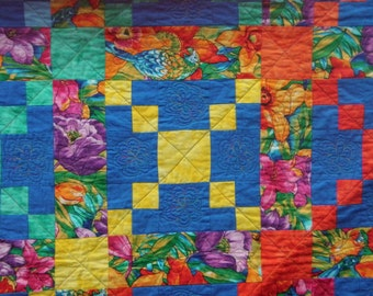 Twin or sofa quilt - Parrots in tropical flowers 58 x 85 inches
