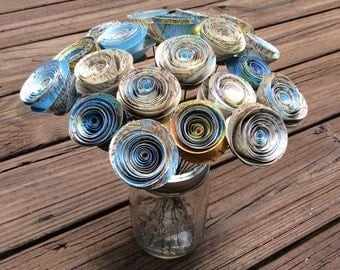 Map Rolled Paper Flowers, Spiral Paper Roses (20) - Home/Office, Table Centerpiece, Gift