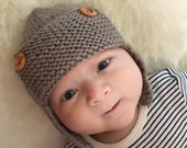 Aviator Hat Knitting Pattern, PDF Knitting Pattern, REGAN, Baby Aviator Hat Pattern, Child Aviator Hat Pattern, Hat Pattern for Boys