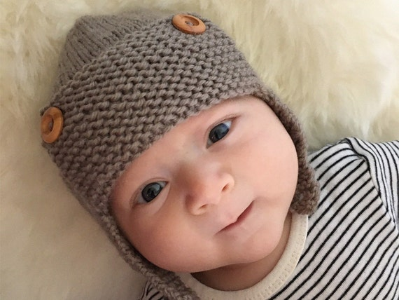 Knitting Pattern For Baby Pilot Hat : Aviator Hat Knitting Pattern PDF Knitting Pattern REGAN