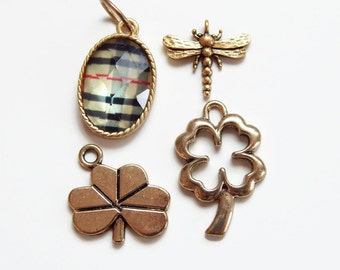 Gold good luck charms - DIY Charm bracelet - pull charms - clover - dragon fly