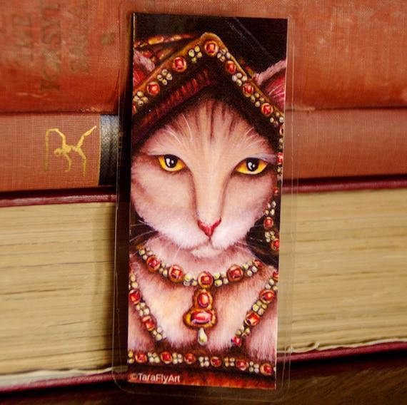 Queen Jane Seymour Cat, Henry VIII Tudor Cats, Laminated Paper Bookmark