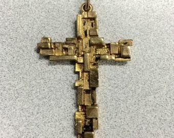Vintage Geometric Gold Cross Pendant