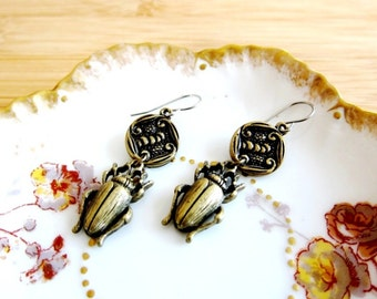 Scarab Egyptian Book of Dead Charm Earrings Floral Connector Bronze