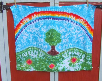 Tie Dye Hippy Tapestry - Tree Under a Rainbow -  38in x 30 in. - Ready to Ship