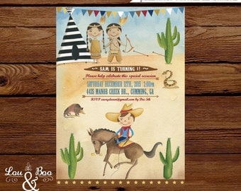 Printable Cowboy Rodeo, cowboys and indians custom party invitation. Wild west, native american western birthday theme invitation