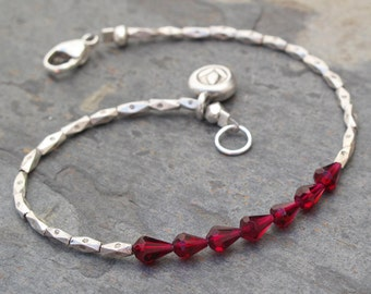 Garnet Thai Hill Tribe Silver Bracelet - Tiny Lotus